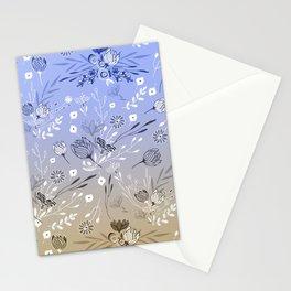 Modern sky blue brown gradient floral illustration  Stationery Cards