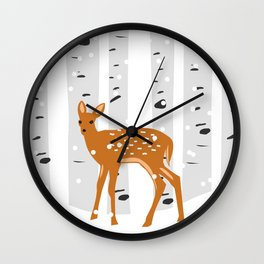 Baby Deer in the snow Wall Clock