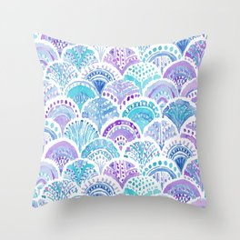 Mystical MERMAID DAYDREAMS Watercolor Scales Throw Pillow