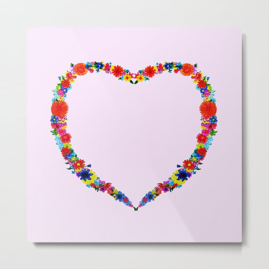heart made of flowers on a pink background Metal Print