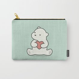 Kawaii Cute Polar Bear With Heart Carry-All Pouch