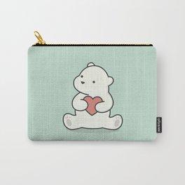 Kawaii Cute Polar Bear With Heart Carry-All Pouch