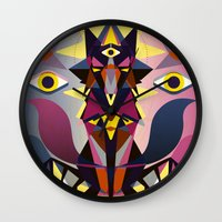 wolves Wall Clocks featuring Wolves by youareconstance