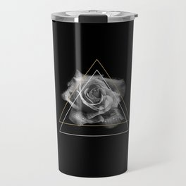 Rose Black and White Travel Mug