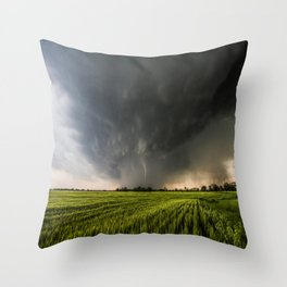 Beautiful Storm - Tornado Emerges From Rain Over Wheat Field in Kansas Throw Pillow