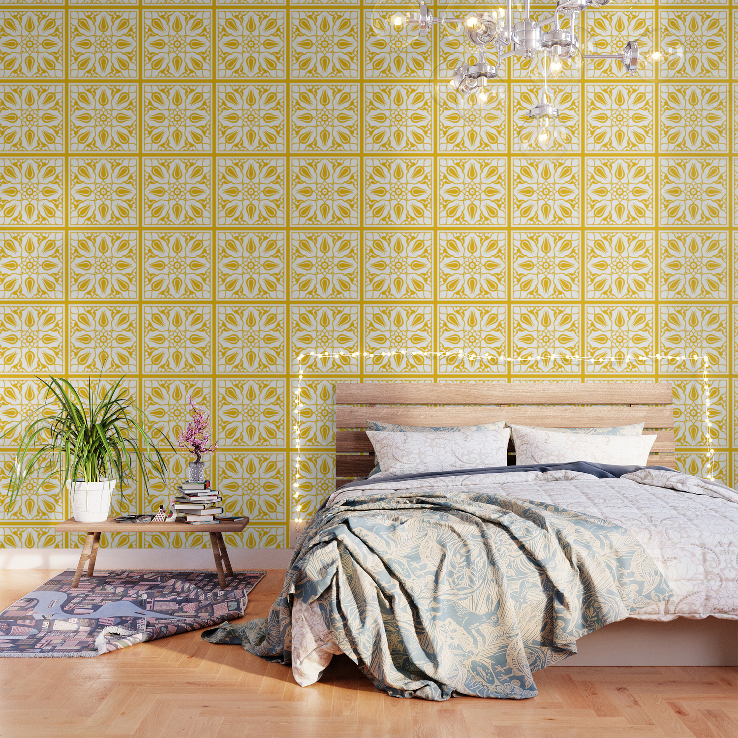 Yellow Turkish Traditional Floral Tile Art Wallpaper By Nsprints