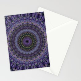 Mandala with violet and purple ornaments Stationery Cards