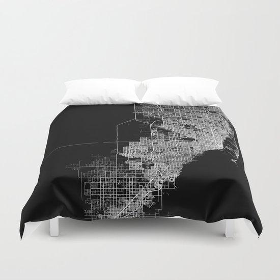 Miami map Duvet Cover