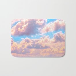 Beautiful Pink Cotton Candy Clouds Against Baby Blue Sky Fairytale Magical Sky Bath Mat