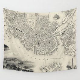 Vintage Map of Boston MA (1838) Wall Tapestry
