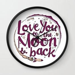 Love You to the Moon & Back...Merlot & Peach Wall Clock