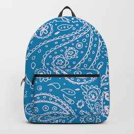 Paisley Blue White Backpack