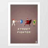 street fighter Art Prints featuring Pixel Art Street Fighter by LoweakGraph