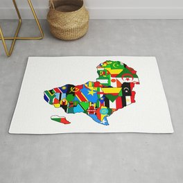 Flags of African countres Africa map Rug