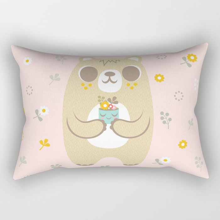 Cute Bear Holding a Plant Rectangular Pillow