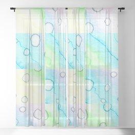 Watercolor Squares Pattern! Sheer Curtain