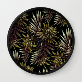 Aechmea Fasciata - Dark Green / Brown Wall Clock