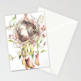 Butterflies' home Watercolor Surreal Art Nepenthes Stationery Cards