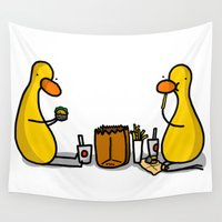 fries Wall Tapestries featuring Burgers and Fries Time by Veronica Nagorny