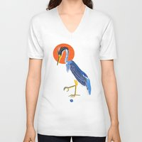 crane V-neck T-shirts featuring Japanese Crane by Christian G. Marra