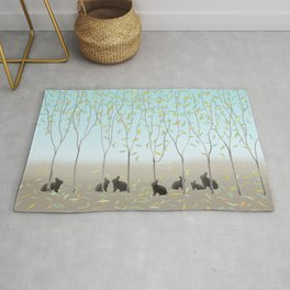 Morning Falling Leaves and Bunnies Rug