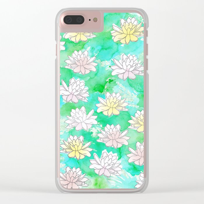 Water Lilies in a pond Clear iPhone Case