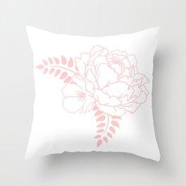 Light pink peony Throw Pillow