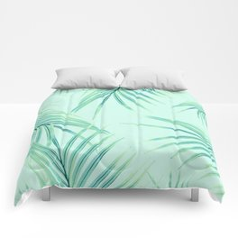 Summer Palm Leaves Dream #1 #tropical #decor #art #society6 Comforters