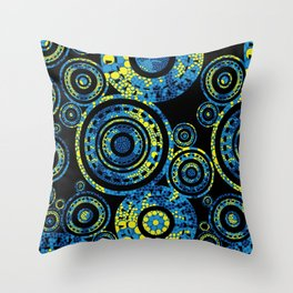 Authentic Aboriginal Art - Circles Throw Pillow