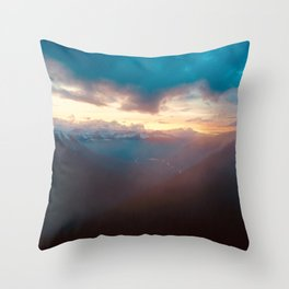 Sunset over the Misty Mountains Throw Pillow