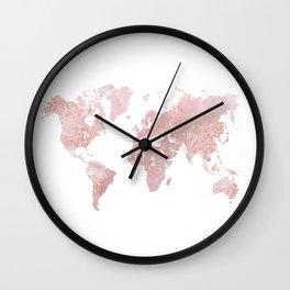 Rose Quartz World Map Wall Clock