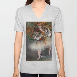 Two Dancers Entering The Stage By Edgar Degas   Reproduction   Famous French Painter Unisex V-Neck
