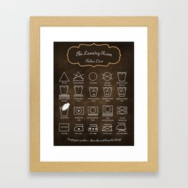 The Laundry Room Fabric Care Guide - Brown Framed Art Print