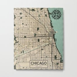 Chicago City Map of the United States - Vintage Metal Print