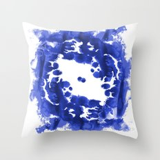 Blue Circle abstract painting enso minimal modern home office dorm college decor Throw Pillow