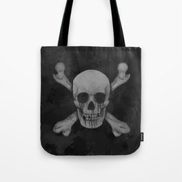 Jolly Roger Pirate Skull Grunge Tote Bag