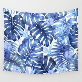 Blue tropical pattern  (monstera leaves and bird of paradise flowers Wall Tapestry