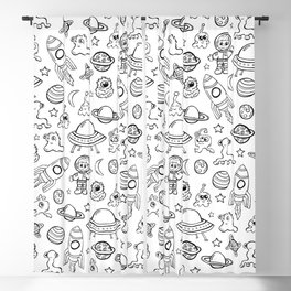 Space Print, Black and White pattern, Alien Illustration, Outer Space, Rocket Ship Blackout Curtain