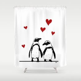 Love Penguins Shower Curtain