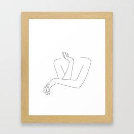 Minimal line drawing of woman's folded arms - Anna Gerahmter Kunstdruck