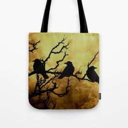 Crows on Branch Against Stormy Sky A522 Tote Bag