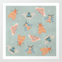 Moths Pattern - Pastels - Blue Art Print