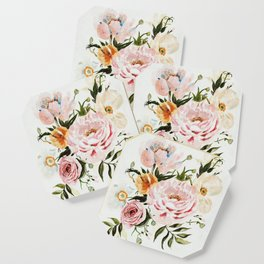 Loose Peonies & Poppies Floral Bouquet Coaster