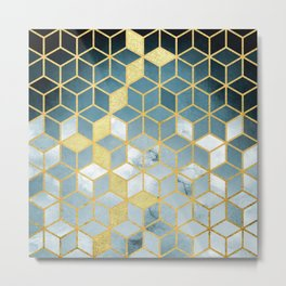 Shades Of Turquoise Green Cubes Pattern Metal Print