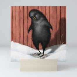 Black Bird In Front Of Red Barn Mini Art Print