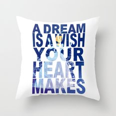 Disney's Cinderella A Dream is a Wish Your Heart Makes in Blue Throw Pillow