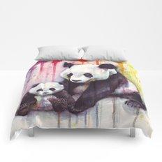 Pandas and Rainbow Watercolor Mom and Baby Panda Nursery Animals Comforters