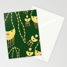 Traditional jewelery green Stationery Cards