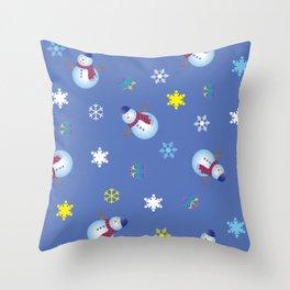 Snowflakes & Snowman_C Throw Pillow