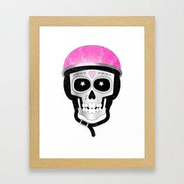 Day of the Dead Biker Skull Framed Art Print